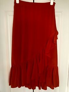 H&M, Ruffle Hem Midi Skirt, In Bright Red, Size 12/38, NEW
