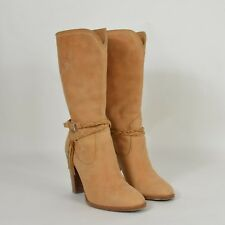 a974f5e687 RALPH LAUREN Collection Italian Leather Braided Harness High Heel BOOTS  Brown 8