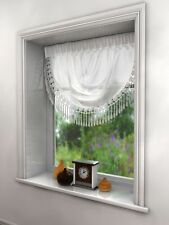 Millie Voile Swags With Heart Beaded Detail Edge 6 Great Colours Fast Delivery White