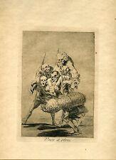 GOYA «Unos a otros» Grabado (etching, engraving) orig nº 77 Caprichos (Caprices)