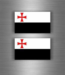 2x Autocollant sticker templier drapeau croisades templar crussader knights r2