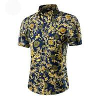 Tops short sleeve floral men's dress shirt slim fit stylish summer luxury formal