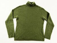 Talbots Womens 100% Cashmere Turtle Neck Cable Knit Pullover Sweater Green Sz LP