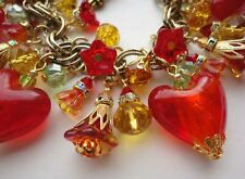 Valentine Charm Bracelet Red Glass Hearts Crystal Charms Vintage M Haskell Chain
