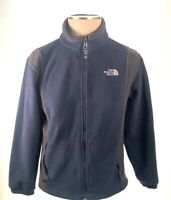 The North Face Boys Fleece Jacket Blue Brown Pocket High Neck Full Zip Up M