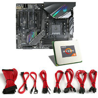CSL Mainboard Bundle AMD Ryzen 2600x, ASUS ROG Strix X470 + Kabel Sleeve rot