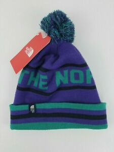 The North Face Adult Unisex Ski Tuke V Pom Beanie Winter Purple Teal OS NWT