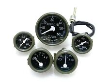 Green Bezel Speedometer,Temp,Oil,Fuel,Amp Gauges Set Willys Jeep