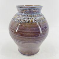 """Vintage Signed Spindrift Art Pottery M & D Bishop Purple Spun Vase  8"""" Tall"""