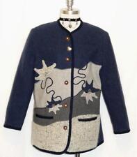 """LODEN WOOL BLUE SWEATER Women German Austria Winter Jacket Coat B44"""" 42 14 L"""