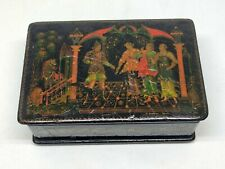 Vintage Palekh Soviet Russian lacquered hand painted old box Paleh