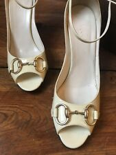 Gucci Patent Leather Mystic White Wedges Size 10