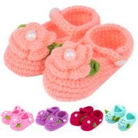 Cute Newborn Baby Infant Girls Crochet Knit Flower Socks Crib Shoes 0-18 Months
