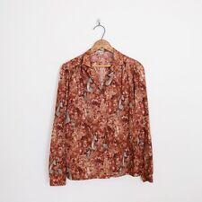 Vtg 70s Hippy Renaissance Antelope Scene Scenic Novelty Print Shirt Blouse Top M
