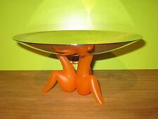 ALESSI *NEW* Centre de table inox/pied orange D.29cm H.14cm Philippe Starck