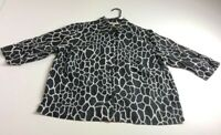 Jones New York Women Long Sleeve Button Up Shirt 1X Black White Geometric Linen