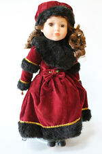 2000 Alexandra Porcelain Victorian Collector's Doll Maroon Dress Black Hair