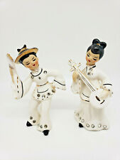 Pair Lefton Chinese Porcelain Figurines Musician Dancer Crystals