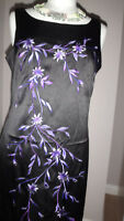 Stunning Images Black & Purple Embroidered Design Bodycone Satin Dress Size 14
