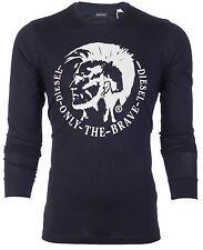 DIESEL Mens LONG SLEEVE T-Shirt ACHEL Mohawk NAVY BLUE Casual Designer Jeans $68