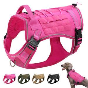 Pink Tactical Dog Harness MOLLE K9 Military Training Vest Adjustable Reflective