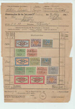 Germany 1923  Tax document with multiple inflation revenue stamps