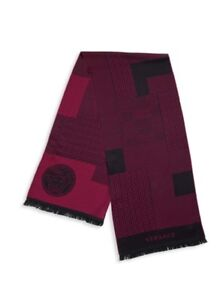 VERSAGE NWT $220 Paneled Multi-Pattern Wool Scarf Red Made in Italy