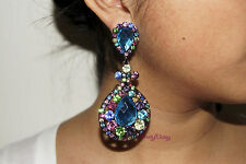 Multicolor Chandelier Crystal Rhinestone Bridal Drag Queen Pageant Clip Earring