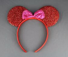 Red sparkle minnie mouse ears headband ear hair band costume mickey sparkly