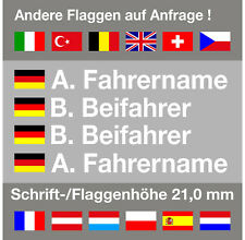 4 x Aufkleber Name + Flagge Rallye Racing | Motorsport | Kart | DTM | 21,0 mm