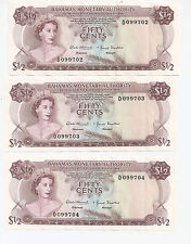 1968 Bahamas Monetary Authority 3 Consecutive Low Serial Number Bank Notes