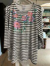 Bonworth knit blouse top XL black & white stripe with flowers