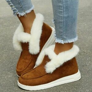 Ankle Boots Women Winter Boots Warm Plush Snow Boots Suede Leather Shoes