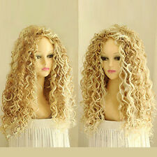 WOMEN'S FASHION LONG MIX BLONDE WAVY WIG CURLY NATURAL HAIR COSPLAY WIGS gyy36
