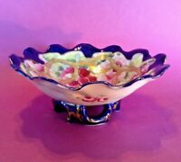 Hand Painted Scalloped Bowl With Reticulated Base - Blue Rim - Nippon Japan
