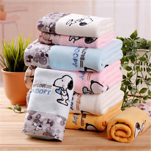 2 pieces Quick-Drying Cute Snoopy Microfiber Bath Face Towel Set Beach Bathroom