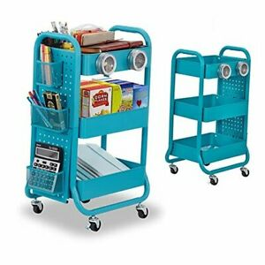3-Tier Metal Rolling Utility Cart with Handle, Craft Art Carts & Extra Office
