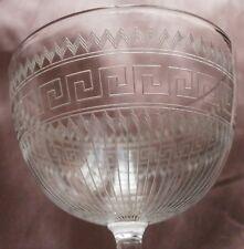 """Lot de 3+1+1= 5 verres en cristal fin gravé motif """" frise grecque """" - Baccarat ?"""