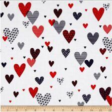 Valentine's Day Fabric - Love American Style Hearts White - Kanvas Benartex YARD