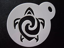 Laser cut small tribal turtle design cake,cookie,craft & face painting stencil