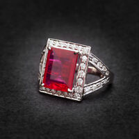 Classy 6.12 Cts Natural Diamonds Ruby Cocktail Ring In Solid 18Karat White Gold