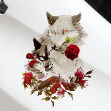 Wolf and Rose Car Sticker Art Charm Auto Vinyl Flower Decal C Pillar Door Decor