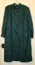 Vintage 1980s Paul Levy Pastel Teal Mohair Wool Coat Long Womens Large/XL