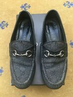 Gucci Womens Shoes Black Denim Canvas Horsebit Loafers UK 3 US 5 EU 36 Ladies