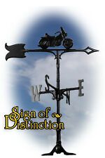 """Whitehall Motorcycle 30"""" Traditional Rooftop Weathervane - Black - with Mount"""