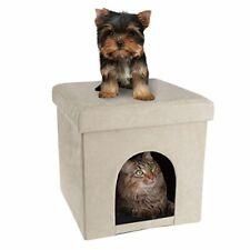 Petmaker Pet House Ottoman- Collapsible Multipurpose Cat or (Microsuede Tan)