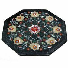 """15x15"""" Black Marble Table Top Coffee Center Inlay Work Home Decor"""