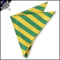 Mens Green & Yellow Striped Pocket Square Handkerchief hanky