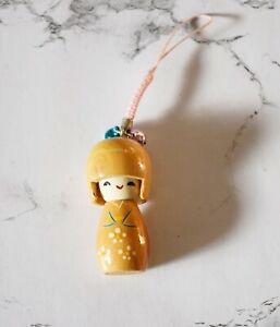 Japanese Style Kokeshi Geisha Wooden Doll Bell Key Mobile Phone Hand Bag Charm