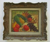RAPHAEL PRICERT PAINTING ANTIQUE IMPRESSIONISM RUSSIAN STILL LIFE FRUIT 1940'S